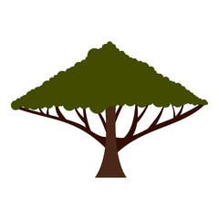 Tree with large crown icon. Flat illustration of tree with large crown vector icon for web