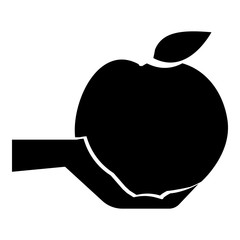 Hand holding apple icon. Simple illustration of hand holding apple vector icon for web