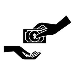 Hand gives money icon. Simple illustration of hand gives money vector icon for web