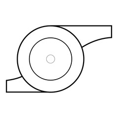 Whistle of referee icon. Outline illustration of whistle of referee vector icon for web