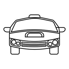 Race car icon. Outline illustration of race car vector icon for web