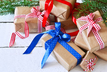 Happy New Year - Christmas background with gift boxes