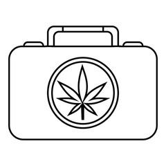 Suitcase with marijuana icon. Outline illustration of suitcase with marijuana vector icon for web