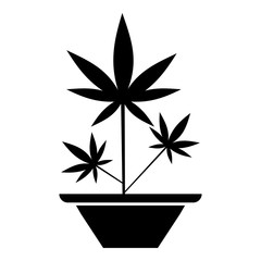 Hemp in pot icon. Simple illustration of hemp in pot vector icon for web
