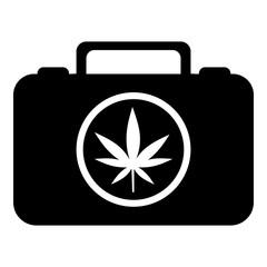 Suitcase with marijuana icon. Simple illustration of suitcase with marijuana vector icon for web