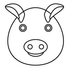 Pig icon. Outline illustration of pig vector icon for web