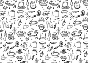 Seamless pattern Hand drawn doodle Thanksgiving icons set. Vector illustration autumn symbols collection. Cartoon various celebration elements: turkey, hat, cranberry, vegetables, pumpkin pie, leaves