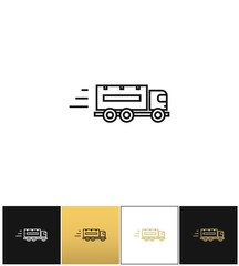 Speeding delivery symbol or truck linear vector icon