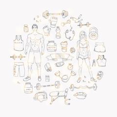 Hand drawn doodle fitness icons set. Vector illustration. Sport symbol collection. Cartoon bodybuilding various sketch elements: gym, sportsmen, diet, barbell, dumbbell, vitamin, protein, sport bag