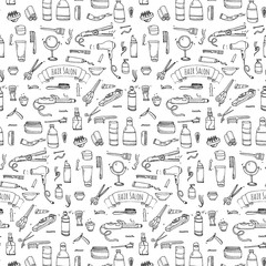 Seamless pattern hand drawn doodle Hair salon icons set. Vector illustration. Barber symbols collection. Cartoon hairdressing equipment elements: shampoo, mask, hair die, scissors, iron, hair dryer