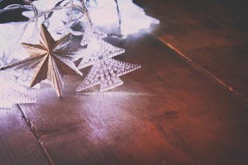 Abstract image of Christmas tree garland lights