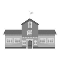 School icon. Gray monochrome illustration of school vector icon for web