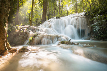 Pu Kaeng waterfall the most beautiful limestone waterfall in Chiangrai province of Thailand.