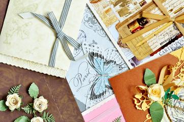 Pile of decorative paper cards, valentine, wedding