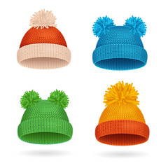 Knitted Color Hat Winter Set. Vector