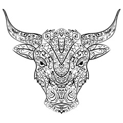 Patterned head of the bull, vector illustration in zentangle style