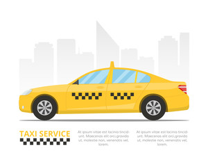 Yellow taxi cab. Template for a banner or billboard Taxi service. Vector illustration in flat style