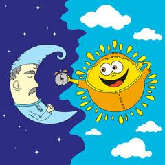 Cartoon style sun and moon - hand drawn fun style vector