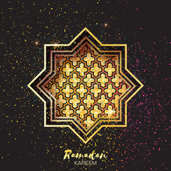 Golden Festive Ramadan crescent moon, stars. Greeting card.