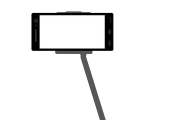 Mobile phone with selfie stick - flat design