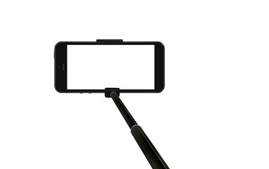 mobile phone on selfie stick on white background