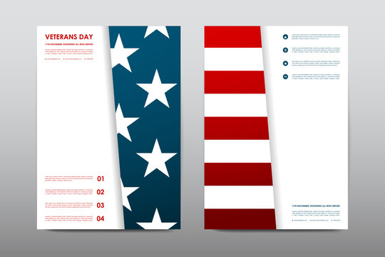 Set of Veterans Day brochure, poster templates in USA flag style. Beautiful design and layout