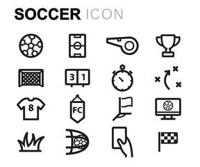 Vector black line soccer icons set