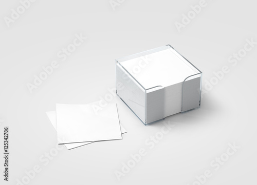 Post It Note Holder Template | Blank White Sticker Note Block Plastic Holder Mockup Clipping Path