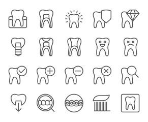 Dental thin line icons