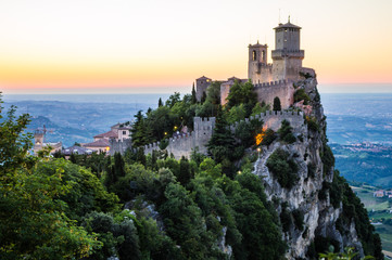 Rocca della Guaita, the most ancient fortress of San Marino in the sunset time