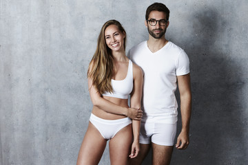 Beautiful people in underwear, studio