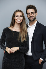 Beautiful couple in glasses, portrait