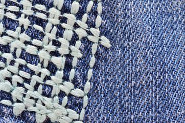 The fabric of the jeans. Background, texture for the design