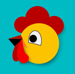 Flat Rooster icon.