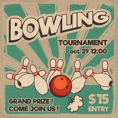 Vector pop art bowling illustration on a vintage background. Bowling strike. Retro bowling tournament poster design concept.
