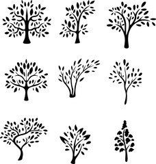 collection of black tree silhouette