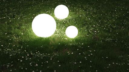 Glowing spheres in the garden