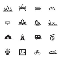 park garden camp line flat icon set vector