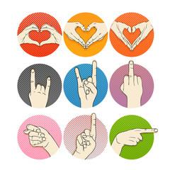 Human hands vector collection. Gestures of human hands