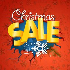 Winter season sale banner. Christmas sale concept with doodles o