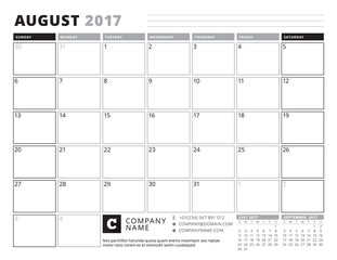 August 2017. Calendar Planner for 2017 Year. Week Starts Sunday. Black and White Color Theme. Stationery Design