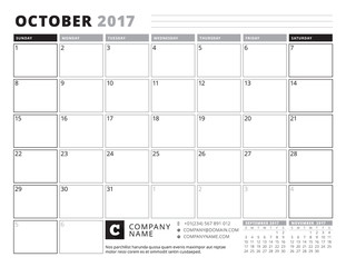 October 2017. Calendar Planner for 2017 Year. Week Starts Sunday. Black and White Color Theme. Stationery Design
