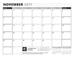 November 2017. Calendar Planner for 2017 Year. Week Starts Sunday. Black and White Color Theme. Stationery Design