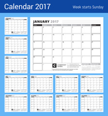 Calendar Planner for 2017 Year. Week Starts Sunday. Black and White Color Theme. Stationery Design. Set of 12 Months
