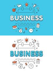 Linear Flat BUSINESS Plan calendar schedule website vector