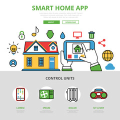Linear flat Smart home app infographic vector Mobile application
