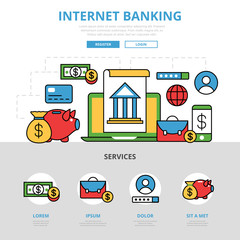 Linear flat Internet banking infographics hero image vector
