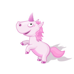 Funny cartoon unicorn vector illustration. Flying animal concept