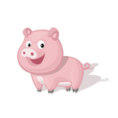 Funny cartoon pig vector illustration. Animal Zoo concept.