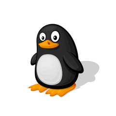 Funny cartoon penguin vector illustration. Zoo Animal and bird.